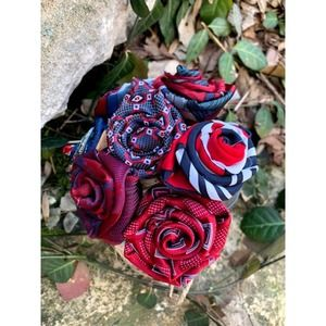 Mothers Day Patriotic Rose Bouquet upcycled tie